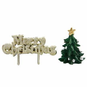 Green Christmas Tree Merry Christmas Cake Toppers