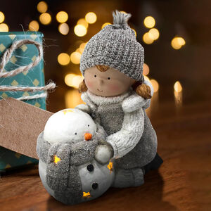 Girl with Lightup Snowman