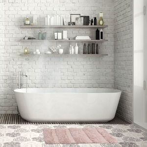 Feather Stripe Bath Mat 40 x 60cm - Natural