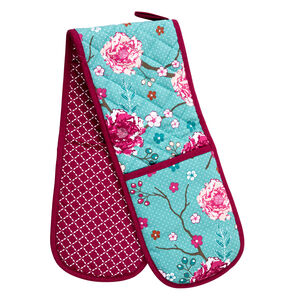 Floral Admiration Teal Double Oven Glove