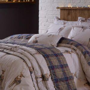 Checkered Stag Navy Cushion 30cm x 50cm