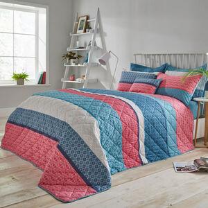 Annie Blue/Coral Bedspread 200cm x 220cm
