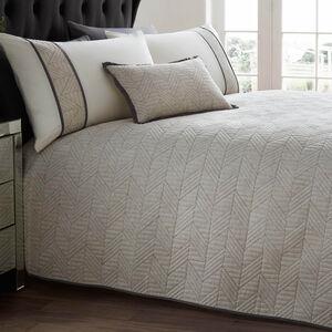 Linen Geo Charcoal Bedspread