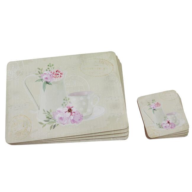 Floral Tea Cup & Jug Mats & Coasters 4 Pack