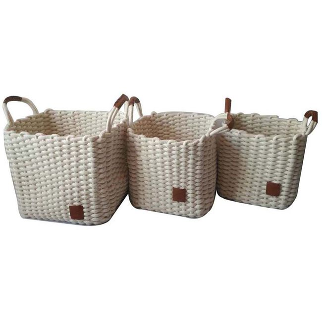 Weft Square White Baskets Set Of Three