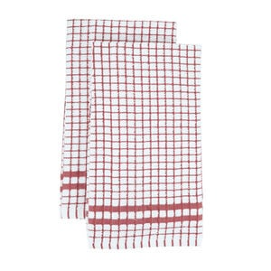 Mono Check Tea Towels 2 Pack - Dusty Rose