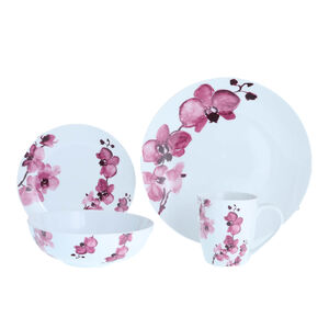 Magenta Orchid Dinner Set 16 Piece