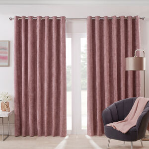 Blackout & Thermal Herringbone Curtains - Blush