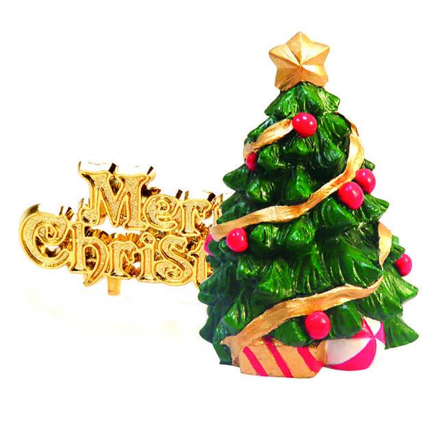 Christmas Tree & Merry Christmas Cake Toppers