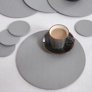 Reversible Round Herringbone Placemats - Grey