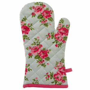 Floral Polka Single Oven Glove Duck Egg
