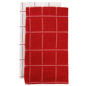 Check Kitchen Tea Towel 2 Pack - Red