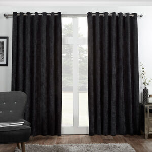 Blackout & Thermal Herringbone Curtains - Black