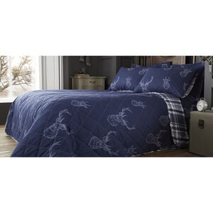 Brushed Cotton Stag Navy Bedspread 200x220cm