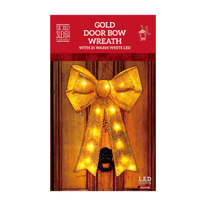 Gold Door Bow Wreath with 25 Warm White LED