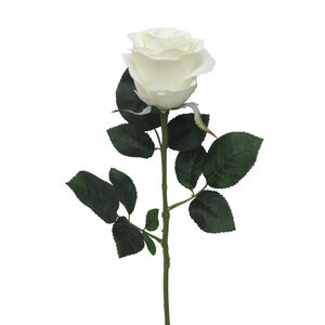 Mountain Rose Stem with Foliage Bridal White 57cm