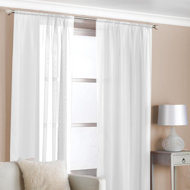 Slot Top Voile Curtains White 2 Pack