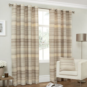 DISTRESSED TEXTURED STRIPE CREAM 66x72 Curtain