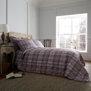 Brushed Cotton O'Leary Check Bedspread 200x220cm
