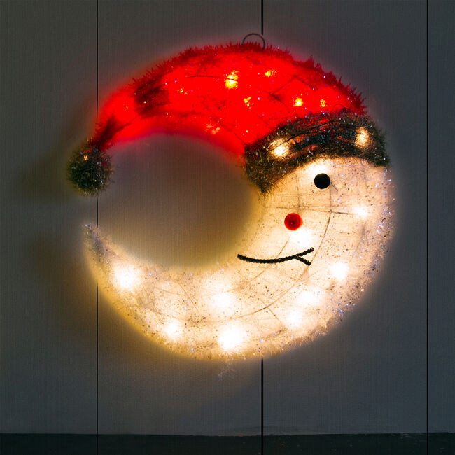 Crystal White Tinsel Moon with Red Cap