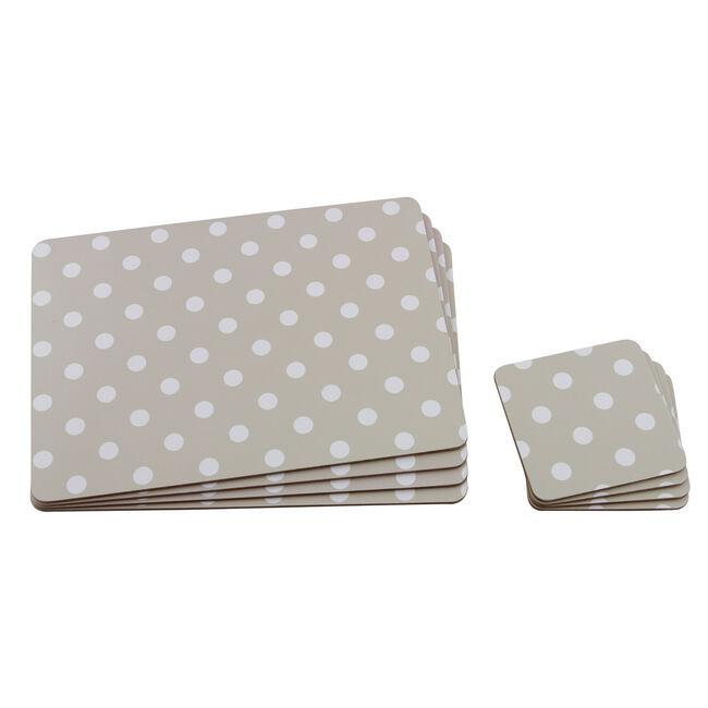 Polka Dot Mats & Coasters 4 Pack - Natural
