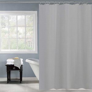 Waffle Shower Curtain Grey