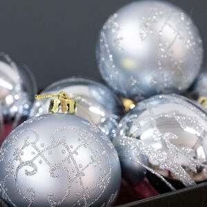 Silver Christmas Baubles - 6 Pack
