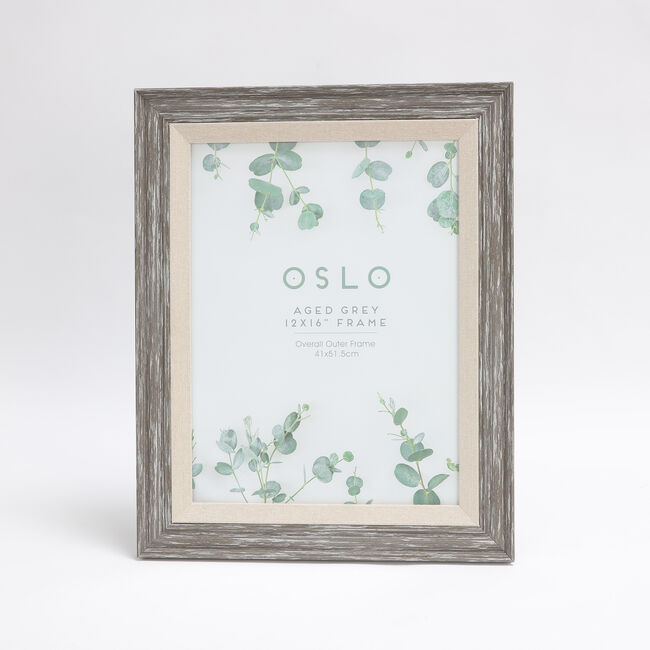 Oslo Aged Grey Photo Frame 12x16""