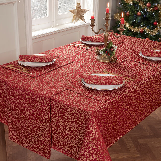 Versailles Table Cloth 160x183cm - Red/Gold