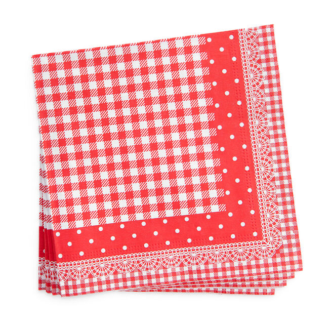 Lace Gingham Napkins 20 Pack - Red