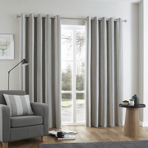 Brushed Stripe Grey Curtain