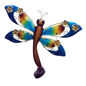 Decorative Glass Solar Dragonfly Wall Art