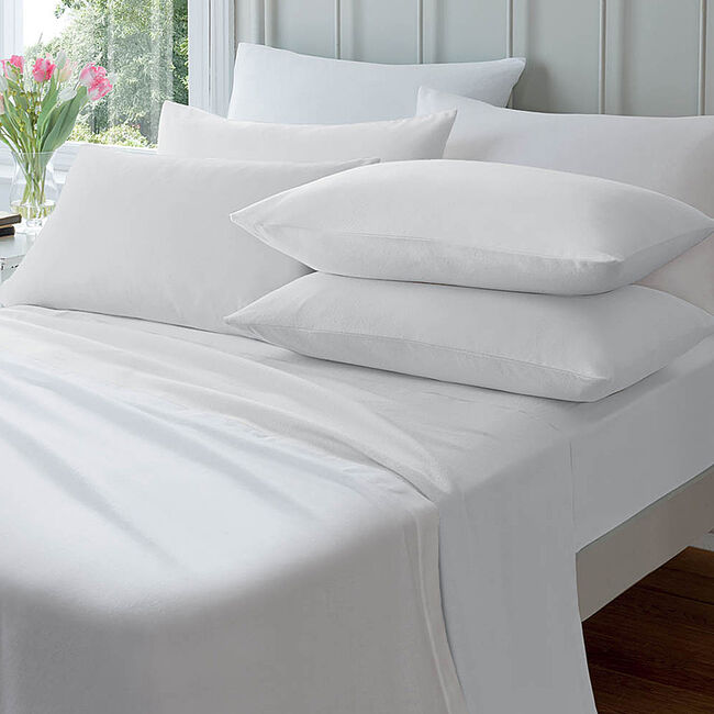 Flannelette Housewife Pillowcase Pair - White