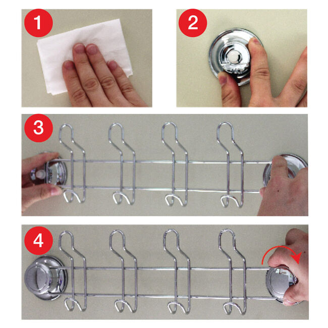 Chrome 4 Hook Rack with Suction Fix
