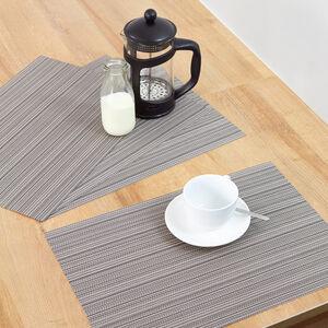 Woven Stripe Placemat Black & Grey