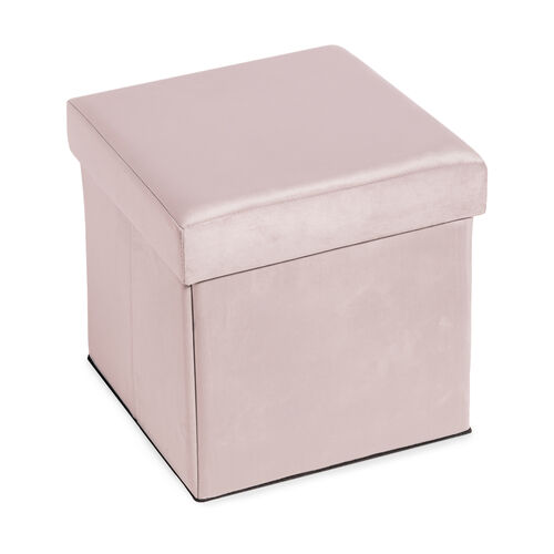 Deluxe Soft Pink Folding Ottoman
