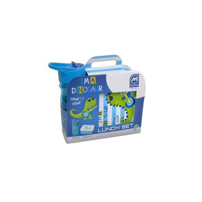Blue Dino Kids Lunch Box and Bottle 500ml