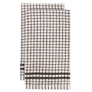 Mono Check Tea Towels 2 Pack - Charcoal