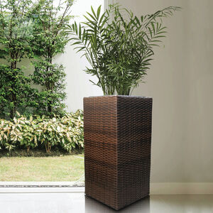 Tall Square Rattan Plant Pot