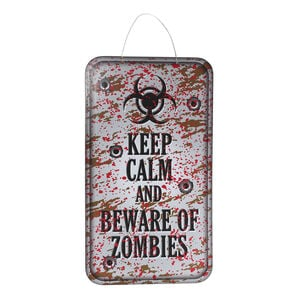 Halloween Zombie Warning Plaque