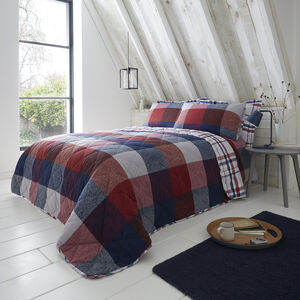 Brushed Cotton Tierney Check Bedspread 200x220cm