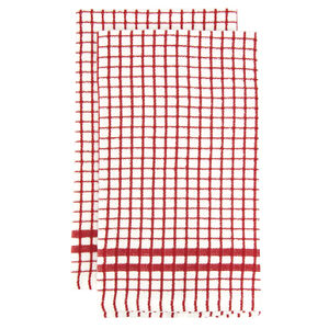 Mono Check Tea Towels 2 Pack - Red