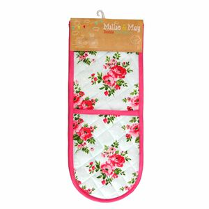 Floral Polka Double Oven Glove Duck Egg