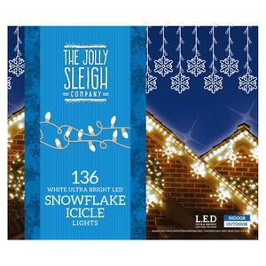136 Snowflake White Icicle LED Lights