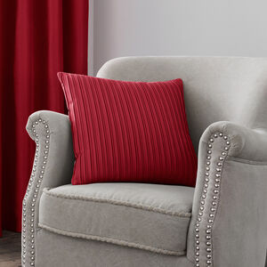 Velvet Pleat Cushion Red 40cm x 40cm