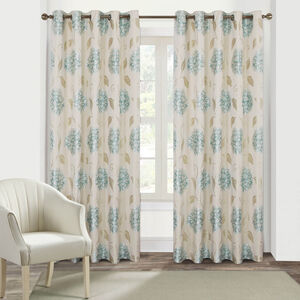 FLORAL BURST DUCK EGG 90x90 Curtain
