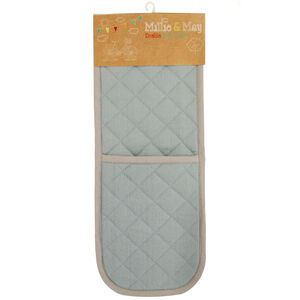 Two Tone Duck Egg/Grey Double Oven Glove
