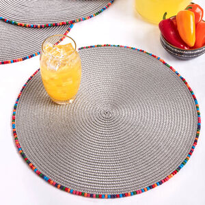Beaded Placemat - Grey