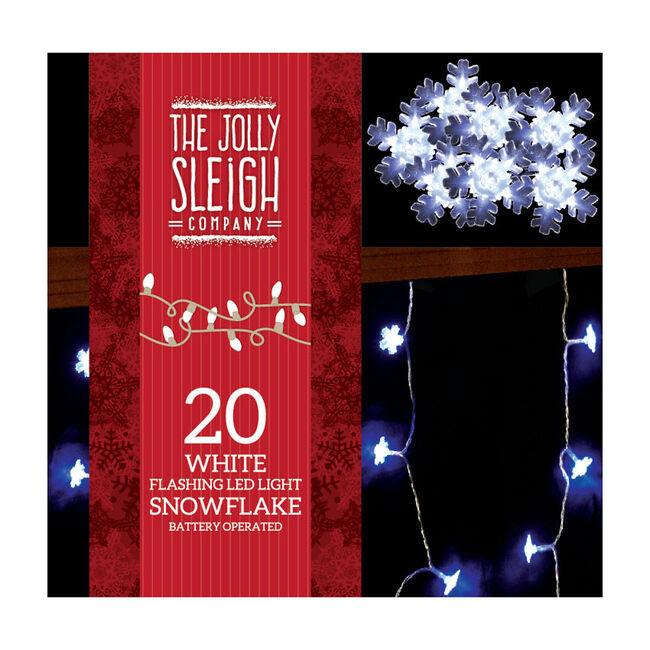 20 Snowflake Flashing LED Lights White