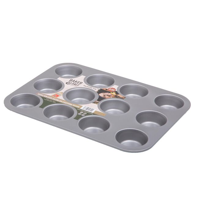 Baker & Salt Silver 12 Cup Muffin Tray
